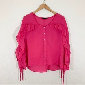 Zara Hot Pink Long Sleeve Ruffle Button Up Top